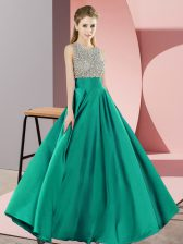 Scoop Sleeveless Homecoming Dress Floor Length Beading Turquoise Elastic Woven Satin