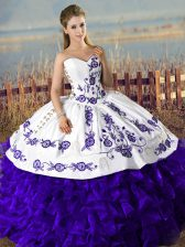 Fancy Purple Ball Gowns Embroidery Quinceanera Dresses Lace Up Satin and Organza Sleeveless Floor Length