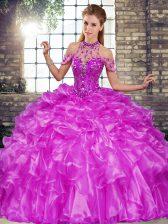 Purple Sleeveless Floor Length Beading and Ruffles Lace Up Sweet 16 Dress