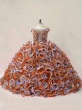 Flare Multi-color Quince Ball Gowns Beading and Ruffles Sleeveless Court Train