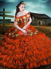 Fantastic Rust Red Lace Up Quinceanera Dresses Embroidery and Ruffles Sleeveless Floor Length
