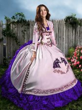 White And Purple Lace Up Sweetheart Embroidery and Ruffles Quince Ball Gowns Satin Sleeveless
