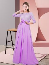 Glorious Lilac Chiffon Side Zipper Scoop 3 4 Length Sleeve Floor Length Damas Dress Lace and Belt