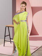 Customized One Shoulder Sleeveless Evening Dress Asymmetrical Sequins Yellow Green Chiffon