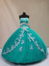 Turquoise Sweet 16 Dress Sweet 16 and Quinceanera with Appliques Strapless Sleeveless Lace Up