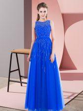 Scoop Sleeveless Homecoming Dress Floor Length Beading Blue Tulle