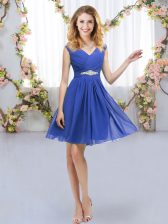 Glamorous Blue Chiffon Zipper Vestidos de Damas Sleeveless Mini Length Belt