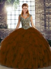 Colorful Sleeveless Lace Up Floor Length Beading and Ruffles 15th Birthday Dress
