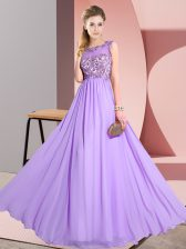 Great Scoop Sleeveless Chiffon Quinceanera Dama Dress Beading and Appliques Backless
