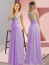 Super Floor Length Empire Sleeveless Lavender Quinceanera Dama Dress Side Zipper