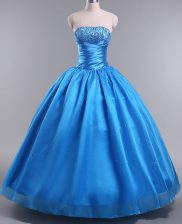 Floor Length Blue 15 Quinceanera Dress Strapless Sleeveless Lace Up