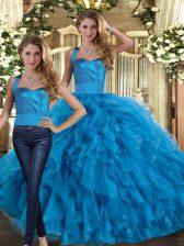 Blue Lace Up Halter Top Ruffles Vestidos de Quinceanera Tulle Sleeveless