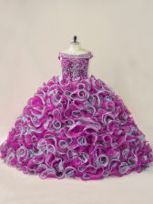 Multi-color Sleeveless Organza Brush Train Lace Up Quinceanera Dress for Sweet 16 and Quinceanera