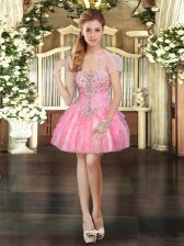 Low Price Organza Sleeveless Mini Length Prom Dress and Beading and Lace and Ruffles