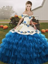 Fantastic Blue And White Lace Up Off The Shoulder Embroidery and Ruffled Layers Sweet 16 Dress Organza Sleeveless