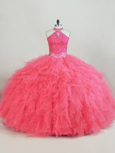 Tulle Halter Top Sleeveless Lace Up Beading and Ruffles 15th Birthday Dress in Pink