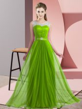 Empire Chiffon Scoop Sleeveless Beading Floor Length Lace Up Quinceanera Court Dresses
