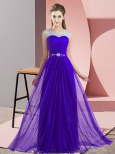 New Style Chiffon Scoop Sleeveless Lace Up Beading Court Dresses for Sweet 16 in Purple