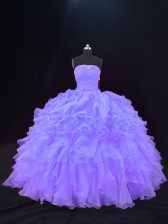Unique Ball Gowns 15th Birthday Dress Purple Strapless Organza Sleeveless Floor Length Lace Up