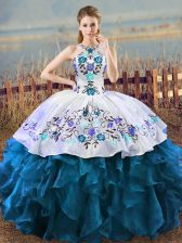 Traditional Sleeveless Lace Up Floor Length Embroidery Quinceanera Gowns
