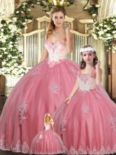 Most Popular Sweetheart Sleeveless Lace Up Sweet 16 Quinceanera Dress Watermelon Red