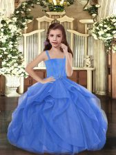 Blue Straps Lace Up Beading Pageant Dress for Womens Sleeveless