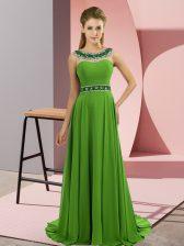 Exquisite Brush Train Empire Dress for Prom Scoop Chiffon Sleeveless Zipper