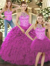 Fuchsia Halter Top Lace Up Beading and Ruffles Sweet 16 Dresses Sleeveless
