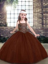 Brown Ball Gowns Straps Sleeveless Tulle Floor Length Lace Up Beading Girls Pageant Dresses