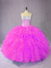Lilac Sleeveless Organza Lace Up Sweet 16 Dress for Sweet 16 and Quinceanera