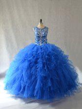 Blue Scoop Neckline Beading and Ruffles Ball Gown Prom Dress Sleeveless Side Zipper