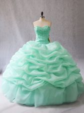 Fantastic Sleeveless Lace Up Floor Length Beading and Pick Ups Quince Ball Gowns