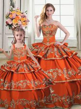 New Arrival Satin and Organza Sleeveless Floor Length Quinceanera Gowns and Embroidery and Ruffled Layers