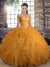 Sleeveless Tulle Floor Length Lace Up Sweet 16 Dress in Orange with Beading and Ruffles