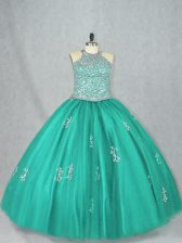 Tulle Sleeveless Floor Length 15th Birthday Dress and Beading and Appliques