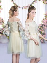 Fabulous Champagne Empire Off The Shoulder 3 4 Length Sleeve Tulle Mini Length Lace Up Lace and Bowknot Quinceanera Court Dresses