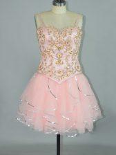 Designer Sleeveless Beading and Ruffles Lace Up Homecoming Dress