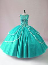 High Quality Turquoise Ball Gowns Tulle Scoop Sleeveless Beading Floor Length Zipper Quince Ball Gowns