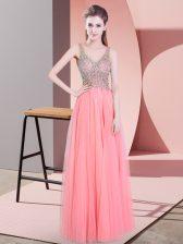New Arrival Floor Length Watermelon Red Prom Dress Tulle Sleeveless Beading