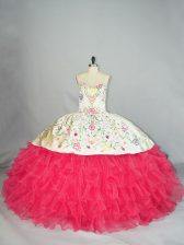 Adorable White And Red Ball Gowns Embroidery and Ruffles Quinceanera Dresses Lace Up Organza Sleeveless Floor Length