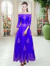 Floor Length A-line 3 4 Length Sleeve Purple Prom Gown Lace Up