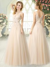 Delicate Champagne Tulle Zipper Prom Gown Sleeveless Floor Length Appliques