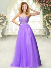 Dynamic Beading and Lace Prom Dresses Lavender Zipper Sleeveless Floor Length