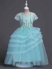 Spaghetti Straps Sleeveless Toddler Flower Girl Dress Floor Length Appliques Aqua Blue Tulle