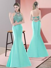 Satin Halter Top Sleeveless Sweep Train Backless Beading in Blue and Apple Green