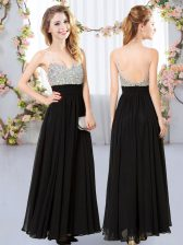 Low Price Black Backless Dama Dress Beading Sleeveless Floor Length