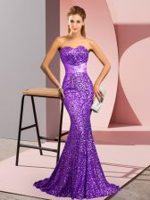 Fine Purple Sleeveless Beading Backless Prom Evening Gown