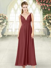 Flare Sleeveless Chiffon Floor Length Backless Prom Dress in Wine Red with Ruching