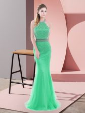 Smart Green Sleeveless Tulle Sweep Train Backless Homecoming Dress for Prom and Party and Military Ball
