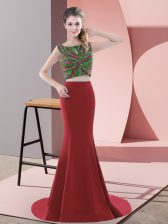 Red Sleeveless Satin Sweep Train Backless Prom Gown for Prom and Party and Military Ball